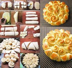Festive Bread - Food Recipes Can't wait to try this! Bread And Pastries, Pastries Recipes, Festive Bread, Holiday Bread, Bread Recipes, Cooking Recipes, Bread Art, Creative Food, Creative Ideas