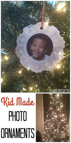 kid made photo ornamentssuch a cute gift idea for grandparents christmas