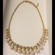 """Pearls and glitz! This is such a beautiful piece. Wear it dressy, wear it casual. 9"""" long. Jewelry Necklaces"""