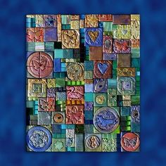 Mosaico. Patchwork polymer clay tiles. Abstract