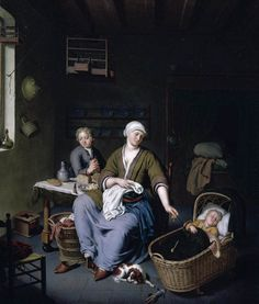Happy Mother with baby, 1728, Willem van Mieris (3 June 1662, Leiden – 26 January 1747, Leiden) via Sifting the Past. Lots of little domestic details here: Shoes (mules), doll, cane rocking cradle, bird cages, brazier, god, plates on racks, food on the table, wicker work chairs, clothing,