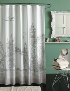 Cool London shower curtain for the bath in white and greyish black.