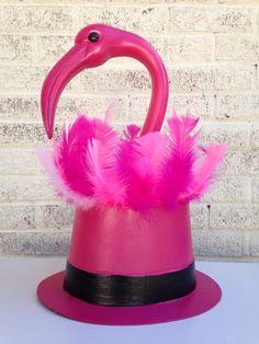 Ladies Pink Flamingo Burlesque Feather Mini Hat Fancy Dress Costume Outfit Clip