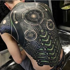 Tattoo by - Tattoo-Ideen - 3d Tattoos, Badass Tattoos, Body Art Tattoos, Tatoos, Awesome Tattoos, Biomech Tattoo, Biomechanical Tattoo Design, Full Body Tattoo, Full Sleeve Tattoos