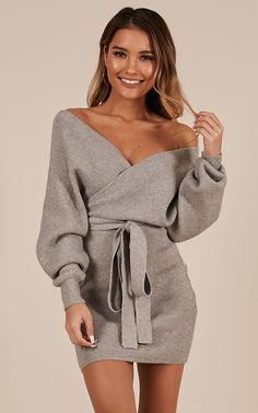 Complete your look with the Dont Fall Down Knit Dress In Grey from Showpo! Buy now, wear tomorrow with easy returns available. Sexy Fall Fashion, Autumn Fashion, Womens Fashion, Classy Outfits, Cute Outfits, Feminine Fall Outfits, Dress Outfits, Fashion Outfits, Peplum Dresses