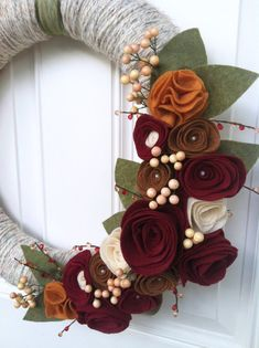 Fall wreath Yarn Wreath Fall Decor Felt Flower by TheVioletteBloom