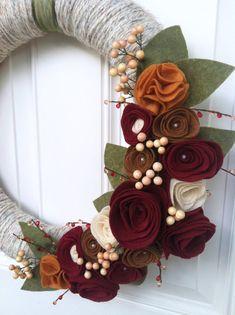 Fall wreath Yarn Wreath Fall Decor Felt Flower by TheVioletteBloom