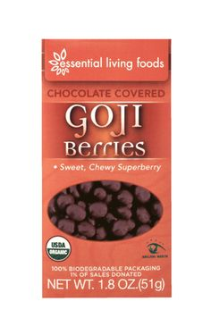 PERFECT ENERGY SNACK! Chocolate Covered Gojis! nOM nOM!!! :) http://essentiallivingfoods.com/products/chocolate-gojis-organic-16oz