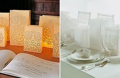 Today I love luminaries. Find a paper bag or some tin cans, throw in a candle and voila! {MS via Once Wed} {David Stark via Budget Savvy Bride} What do you love today? New Beginnings Young Women, Doily Wedding, April Wedding, Once Wed, Party Entertainment, Wedding Blog, Wedding Ideas, Wedding Planner, Wedding Beauty