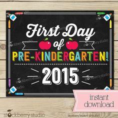 First Day of Pre Kindergarten Sign Day of School by Stockberry Studio School Chalkboard, Chalkboard Signs, Seventh Grade, Sixth Grade, Toddler Class, Pre Kindergarten, Kindergarten Graduation, 1st Day Of School, School Days
