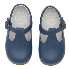 Leather t-bar shoes - Blue