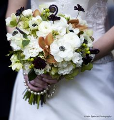 Stoneblossom Florals' Chocolate Cosmos, Fiddle-head Ferns and Orchids ...