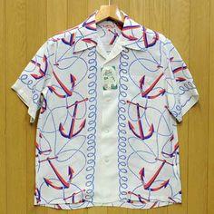 SUNSURF(サンサーフ)レーヨン半袖アロハシャツ・2012年モデル『ANCHORS AWAY』アンカーズアウェイ/ss35671・オフホワイト