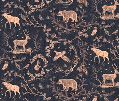 Woodland Winter Toile (in  Licorice) fabric by nouveau_bohemian on Spoonflower - custom fabric