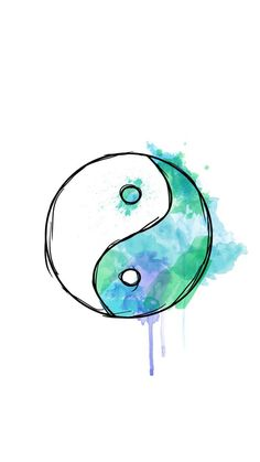 Wallpaper background yin yang watercolour wallpaper from cool wallpaper eye Cute Easy Drawings, Cool Art Drawings, Art Drawings Sketches, Colorful Drawings, Drawing Ideas, Watercolor Wallpaper, Watercolor Print, Watercolor Paintings, Galaxy Wallpaper
