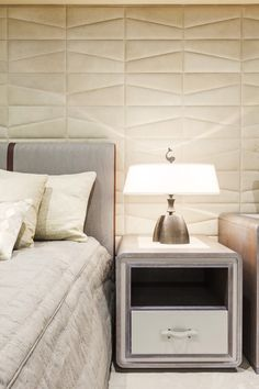 Pin 7: Padded leather wall. This patterned leather wall gives this room a sense of quietness. A subtle yet unique way of adding a touch of class and comfort to the space.