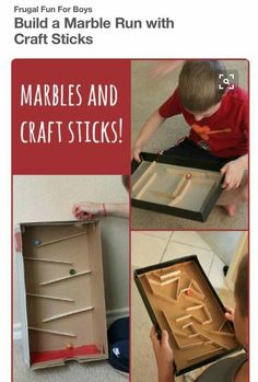 a Marble Run with Craft Sticks Build a marble run or marble maze with craft sticks - so simple and fun!Build a marble run or marble maze with craft sticks - so simple and fun! Stem Projects, Projects For Kids, Craft Projects, Science Projects, Games For Kids, Diy For Kids, Crafts For Kids, Craft Stick Crafts, Fun Crafts