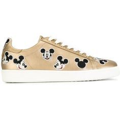 Moa Master Of Arts Mickey Mouse Sneakers (€175) ❤ liked on Polyvore featuring shoes, sneakers, leather footwear, leather trainers, mickey mouse shoes, leather shoes and real leather shoes