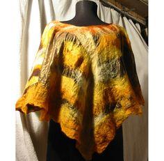Felt Wool Blouse,Nuno Felt Poncho,Nuno Felt Shawl,Silk Wool Felt Shawl, Nuno Felt Poncho Blouse,Yellow Caramel Poncho,Handmade, OOAK