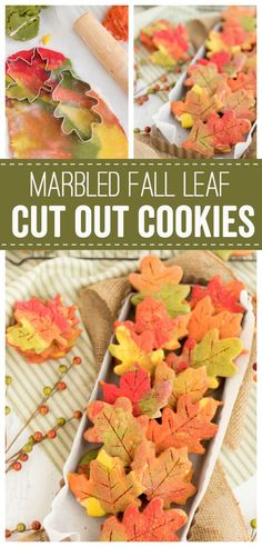 These Fall Leaf Cut Out Cookies are a fun way to celebrate the coming of fall. … These Fall Leaf Cut Out Cookies are a fun way to celebrate the coming of fall. Colorful cookie dough and sanding sugar makes these a pretty cookie to enjoy all Fall season. Cookies Box, Leaf Cookies, Fall Cookies, Cut Out Cookies, Cookies Et Biscuits, Holiday Cookies, Colored Cookies, Pecan Desserts, Mini Desserts