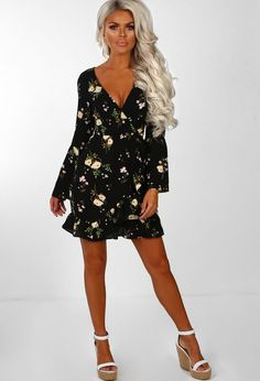 Venice Vacay Black Floral Wrap Over Frill Detail Mini Dress. Venice Vacay  Black Floral Wrap Over Frill Detail Mini Dress  4d3d6d989