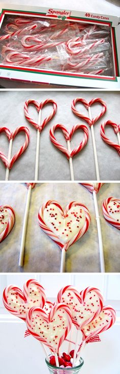 oven@300degreeOn a parchment lined baking sheet,set candy canes as hearts w. lollipop stick centered between2candy canes.Bake3min You want them to be malleable, but not melted. Remove from oven&shape candy canes into hearts by pinching the the bottom of the heart into the stick and pinching the top ends together.Melt candy coating in microwave@30 sec intervals on medium power, stir between heatings til smooth.