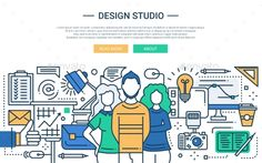 Design Studio - Line Design Website Banner Vector EPS. Download here: https://graphicriver.net/item/design-studio-line-design-website-banner/16100064?ref=ksioks