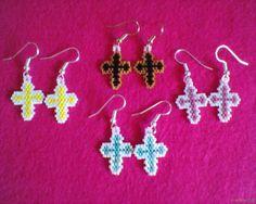 CROSS Earrings Brick Stitch Delica seed beads by Beadedforu