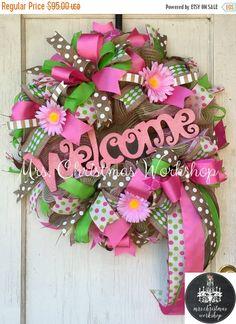 Christmas in July sale Spring wreath summer wreath burlap wreath deco mesh wreath welcome wreath all year