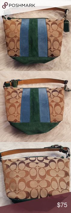 JUST IN🔶️ Coach Signature Stripe Pouchette Great little bag, authentic. Gently used. Blue/green suede. 9in x 6in x 3in. 5in strap drop. EUC. No wear, marks or stains. Coach Bags