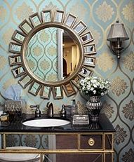 Lovely Mirror on gorgeous wallpaper