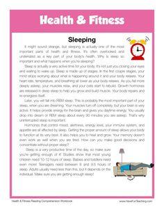 This Reading Comprehension Worksheet - Sleeping is for teaching reading comprehension. Use this reading comprehension story to teach reading comprehension.