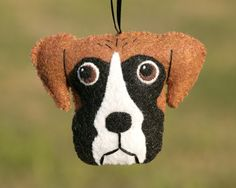 Cute Felt Boxer Dog Ornament. $16.00, via Etsy.  Maybe I could make this?