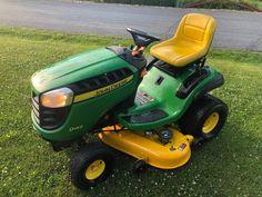 John Deere D140 Tractor 48in. Riding Mower John Deere Riding Mowers, Riding Lawn Mowers, Automatic Lawn Mower, Bobcat Equipment, Back Seat, Pulley, Tractors, Outdoor Power Equipment, Daddy