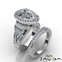 Pear Diamond Vintage Engagement Ring GIA G VS2 Bridal Set 14k White Gold 4 65 Ct | eBay