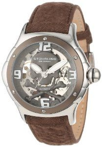 Stuhrling Original Men's 524.332OK54 Champion Alpine Reaper Automatic Skeleton Brown Watch Stuhrling Original. $158.00. Brown mottled denim on a leather backing with stainless steel tang buckle. Skeleton dial with grey skull and crossbones faceplate with applied Arabic numerals 12,3,6, and 9. Protective Krysterna crystals on front and back. Water-resistant to 50 M (165 feet). 316L stainless steel case with Brown polished bezel. Save 77% Off!