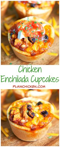 Chicken Enchilada Cupcakes Recipe - chicken, enchilada sauce, black beans, corn and cheddar cheese baked in pizza crust in a muffin pan - SO good. Can freeze leftovers. Great for a party, lunch or dinner. Serve with a side of rice and guacamole for an easy weeknight fiesta.