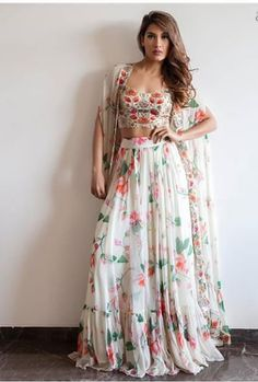Buy Bollywood Model Indo western Koti style Georgette lehenga in UK, USA and Canada Indian Wedding Outfits, Indian Outfits, Eid Outfits, Indian Weddings, Western Dresses, Indian Dresses, Indian Designer Outfits, Designer Dresses, Look Fashion