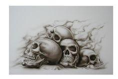 Skull Couple Tattoo, Evil Skull Tattoo, Skull Rose Tattoos, Full Sleeve Tattoo Design, Skull Tattoo Design, Skull Stencil, Tattoo Stencils, Skull Artwork, Skull Painting