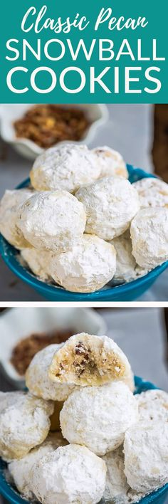 Jun 2019 - Classic Pecan Snowball Cookies are the perfect classic treat for your holiday cookie platter. Best of all, they are soft, buttery and easy to make. So melt in your mouth delicious with a dusting of powdered sugar. Pecan Cookie Recipes, Pecan Cookies, Almond Cookies, Pumpkin Cookies, Keto Cookies, Chip Cookies, Köstliche Desserts, Delicious Desserts, Dessert Recipes