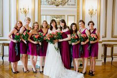 """Amanda included touches of #DIY with the help of her bridal party - she bought all of her flowers at fiftyflowers.com and arranged them herself! (Bride: Gown, Pronovias from I Do, I Do of Morristown; Hair, Salon Visage of Westfield; Shoes, Badgley Mischka) (Bridesmaids: J. Crew - all """"spiced wine"""")"""