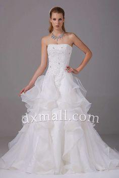 A-line Wedding Dresses Strapless Court Train Organza Satin White 01001010076