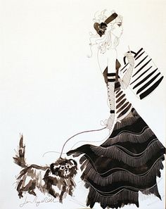 Jane Ryan 'One Snazzy Dog' #art #design #drawing #clothes #dog #cute #blackandwhite #fashion #JaneRyan #DukeStreetGallery Street Gallery, Ink Pen Drawings, Vogue Australia, Matthew Williamson, Textile Design, Illustration, Artist, Painting, Image
