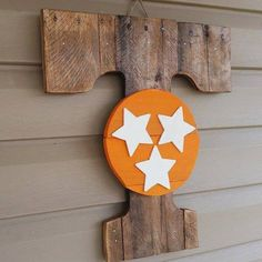 Power TENNESSEE stained wood TRI-STAR stack piece by gdaykreations on Etsy