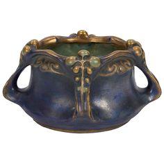 "Amphora Elite, vase, no.371/55, Czechoslovakia, glazed and painted ceramic, raised signature, impressed numbers, 9""w x 7.25""d x 4.5""h"