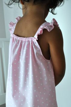 DIY sewing tutorial for little girl's summer nightgown- easy and so cute!   Nice change using straps on a pillowcase dress too!!!