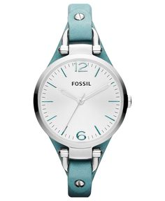 Fossil Watch, Women's Georgia Teal Leather Strap 32mm ES3221 - Fossil - Jewelry & Watches - Macy's