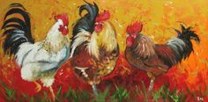 Rooster original oil painting by Roz. Available on Etsy.