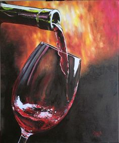 """En una copa de vino"" (In a wine glass) Óleo sobre tela (Oil on Canvas) 50x60 cm Marzo/2016 (March/2016) Autor: Raech."
