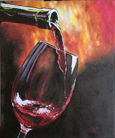 """""""En una copa de vino"""" (In a wine glass) Óleo sobre tela (Oil on Canvas) 50x60 cm Marzo/2016 (March/2016) Autor: Raech."""